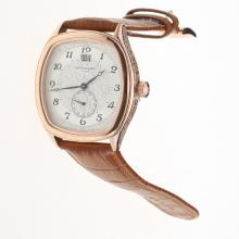 Patek Philippe Rose Gold Case Number Markers with White Dial-Leather Strap