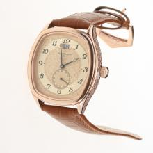 Patek Philippe Rose Gold Case Number Markers with Champagne Dial-Leather Strap
