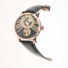 Cartier Rotonde de Cartier Tourbillon Automatic Rose Gold Case with Black Dial-18K Plated Gold Movement