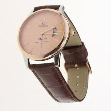 Omega De Ville Co-Axial Two Tone Case Roman Markers with Champagne Dial-Leather Strap