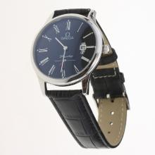 Omega De Ville Co-Axial Roman Markers with Black Dial-Leather Strap