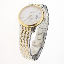 Omega De Ville Co-Axial Two Tone Roman Markers with White Dial-1