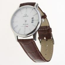 Omega De Ville Co-Axial Roman Markers with White Dial-Leather Strap