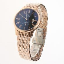 Omega De Ville Co-Axial Full Rose Gold Roman Markers with Black Dial