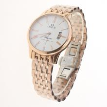 Omega De Ville Co-Axial Full Rose Gold Roman Markers with White Dial