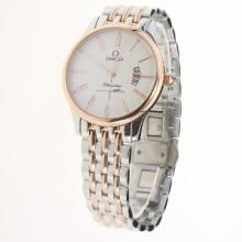 Omega De Ville Co-Axial Two Tone Roman Markers with White Dial
