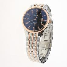 Omega De Ville Co-Axial Two Tone Roman Markers with Black Dial