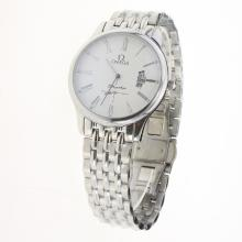 Omega De Ville Co-Axial Roman Markers with White Dial S/S