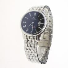 Omega De Ville Co-Axial Roman Markers with Black Dial S/S