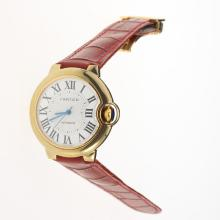 Cartier Ballon bleu de Cartier Automatic Gold Case with White Dial-Red Leather Strap