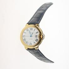 Cartier Ballon bleu de Cartier Automatic Gold Case with White Dial-Dark Blue Leather Strap