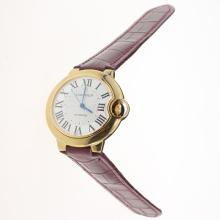 Cartier Ballon bleu de Cartier Automatic Gold Case with White Dial-Purple Leather Strap