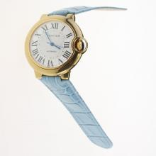 Cartier Ballon bleu de Cartier Automatic Gold Case with White Dial-Light Blue Leather Strap