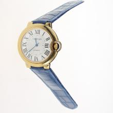 Cartier Ballon bleu de Cartier Automatic Gold Case with White Dial-Blue Leather Strap