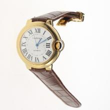 Cartier Ballon bleu de Cartier Automatic Gold Case with White Dial-Brown Leather Strap