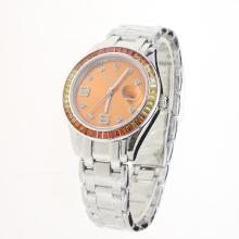 Rolex Masterpiece Swiss ETA 2836 Movement Colorful CZ Diamond Bezel with Orange Dial S/S