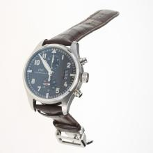 IWC Pilot Chronograph Swiss Valjoux 7750 Movement with Black Dial-Brown Leather Strap
