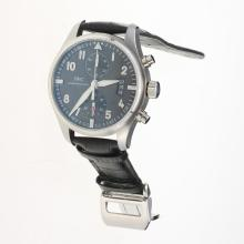 IWC Pilot Chronograph Swiss Valjoux 7750 Movement with Black Dial-Black Leather Strap