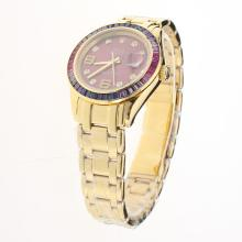 Rolex Masterpiece Swiss ETA 2836 Movement Full Gold Colorful CZ Diamond Bezel with Purple Dial
