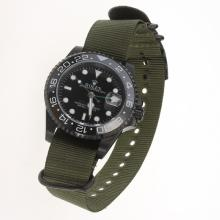 Rolex GMT Master II Automatic PVD Case Ceramic Bezel with Black Dial-Nylon Strap