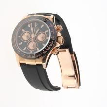 Rolex Daytona Chronograph Swiss Valjoux 7750 Movement Rose Gold Case Ceramic Bezel Stick Markers with Black Dial-Rubber Strap