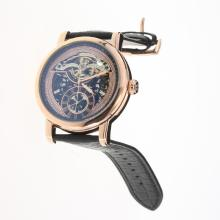 Patek Philippe Grande Complication Tourbillon Automatic Rose Gold Case with Skeleton Dial-Leather Strap