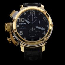 U-Boat Italo Fontana Working Chronograph Two Tone Case with Black Dial-Leather Strap
