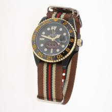 Rolex GMT Master II Bamford Automatic Two Tone Case Ceramic Bezel with Black Dial-Nylon Strap