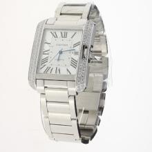 Cartier Tank Swiss ETA 2836 Movement Diamond Bezel with White Dial S/S