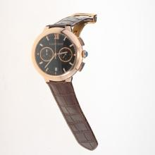 Cartier Rotonde de Cartier Working Chronograph Rose Gold Case with Black Dial-Brown Leather Strap