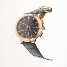 Cartier Rotonde de Cartier Working Chronograph Rose Gold Case with Black Carbon Fibre Style Dial-Black Leather Strap