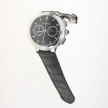 Cartier Rotonde de Cartier Working Chronograph with Black Carbon Fibre Style Dial-Black Leather Strap