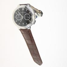 Cartier Rotonde de Cartier Working Chronograph with Black Dial-Brown Leather Strap