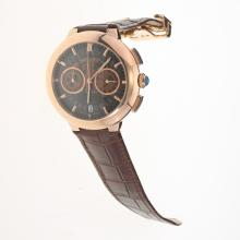 Cartier Rotonde de Cartier Working Chronograph Rose Gold Case with Skeleton Dial-Brown Leather Strap