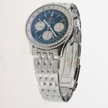 Breitling Navitimer Chronograph Swiss Valjoux 7750 Movement Stick Markers with Blue Dial S/S