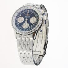 Breitling Navitimer Chronograph Swiss Valjoux 7750 Movement Stick Markers with Black Dial S/S