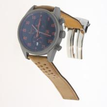 Tag Heuer Working Chronograph Titanium Case Red Markers with Black Dial-Leather Strap