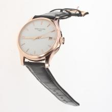Patek Philippe Calatrava Swiss ETA 2824 Movement Rose Gold Case with White Dial-Leather Strap