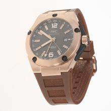 IWC InGenieur Working GMT Automatic Rose Gold Case with Brown Dial-Rubber Strap
