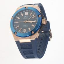 IWC InGenieur Working GMT Automatic Rose Gold Case with Blue Dial-Rubber Strap