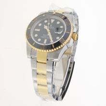Rolex Submariner Swiss Cal 3135 Movement Two Tone Ceramic Bezel with Black Dial S/S-Super Luminous