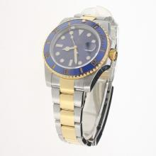 Rolex Submariner Swiss Cal 3135 Movement Two Tone Ceramic Bezel with Blue Dial S/S-Super Luminous