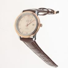 Omega De Ville Two Tone Case with Champagne Dial-Leather Strap
