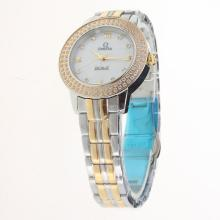 Omega De Ville Two Tone Diamond Bezel with MOP Dial-Lady Size