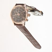 Omega De Ville Working Chronograph Rose Gold Case with Brown Dial-Leather Strap