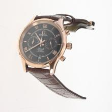 Omega De Ville Working Chronograph Rose Gold Case with Black Dial-Leather Strap