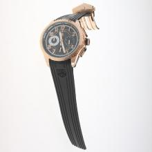 Tag Heuer Carrera CAL. HEUER 01 Working Chronograph Rose Gold Case with Black Dial-Rubber Strap