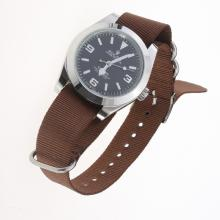 Rolex Explorer Automatic with Black Dial-Nylon Strap