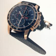 Chopard Miglia Working Chronograph Rose Gold Case with Black Dial-Rubber Strap