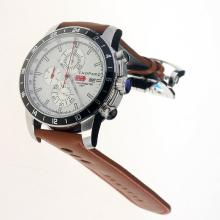 Chopard Miglia Working Chronograph with White Dial-Leather Strap